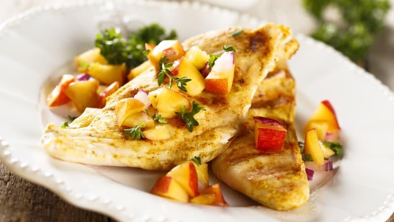 Chicken with peach and melon salsa recipe