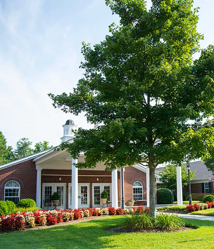 Front view of a photo of a long term care facility.