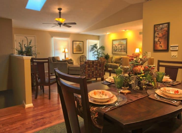 Timber Creek Dining Room with View to Living Room