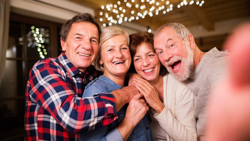 Senior friends just having the best time on Valentine's Day