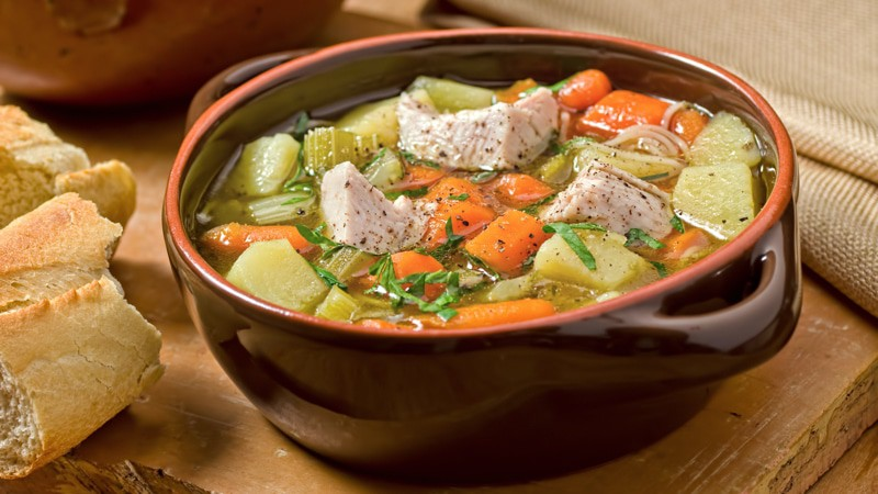 Turkey Soup is one way to make an entirely new dish out of leftover turkey