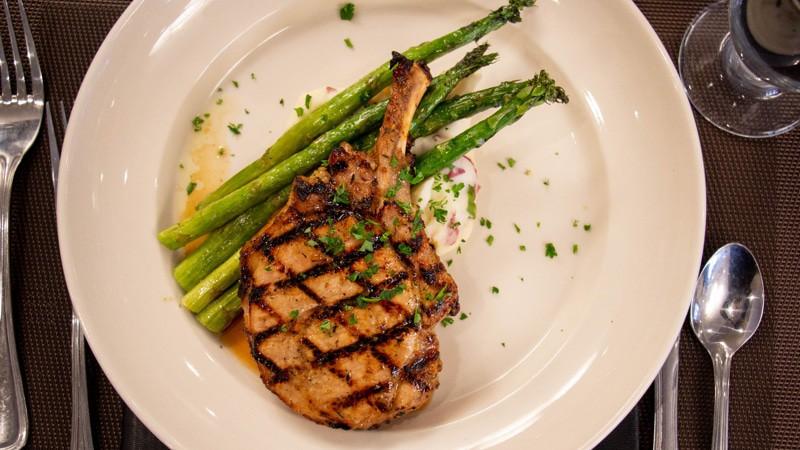 Glazed pork chop in a chicken marinade yum
