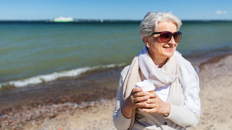Senior woman enjoys her migration in the wintertime