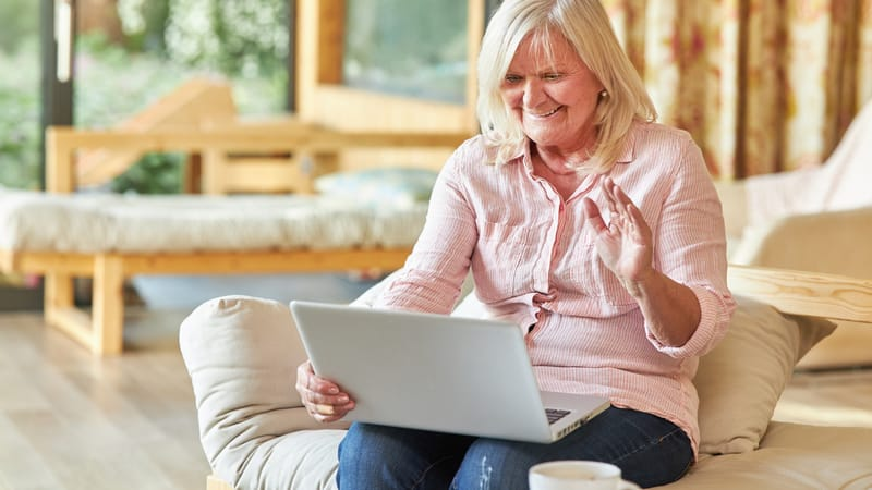 Senior video chatting