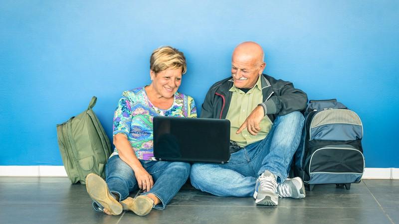 Seniors participating in virtual travel