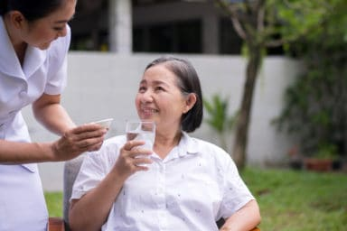 Senior woman at a nursing care facility
