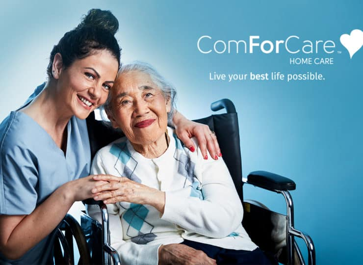 ComForCare Caregiver with Senior Lady in wheelchair