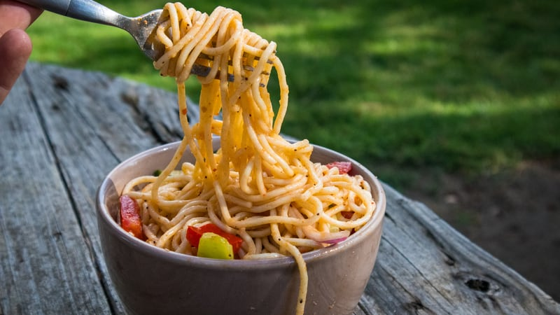 Pasta salad at a picnic