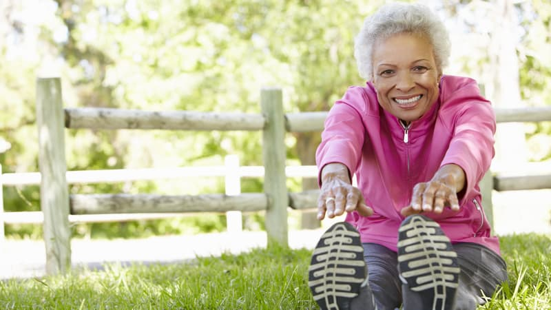 Senior woman manages her type 2 diabetes well