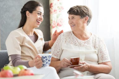 Happychoice Home Care Caregiver With Senior Lady