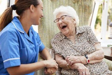 Advantage Senior Care Caregiver With Happy Senior Lady