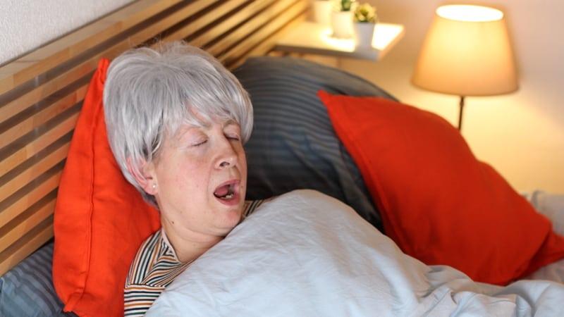 Hilarious senior woman has sleep apnea