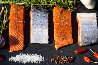 Pieces of BBQ salmon