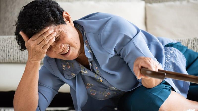 Woman having a hard time avoiding falls
