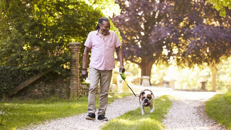 Man enjoying the benefits of dogs for seniors
