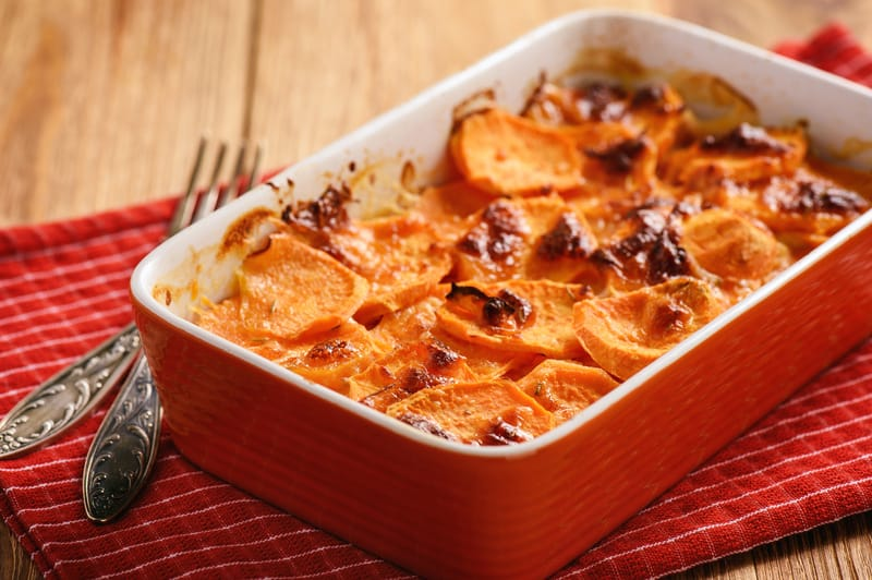 A Thanksgiving dish that's spicy sweet potatoes au gratin