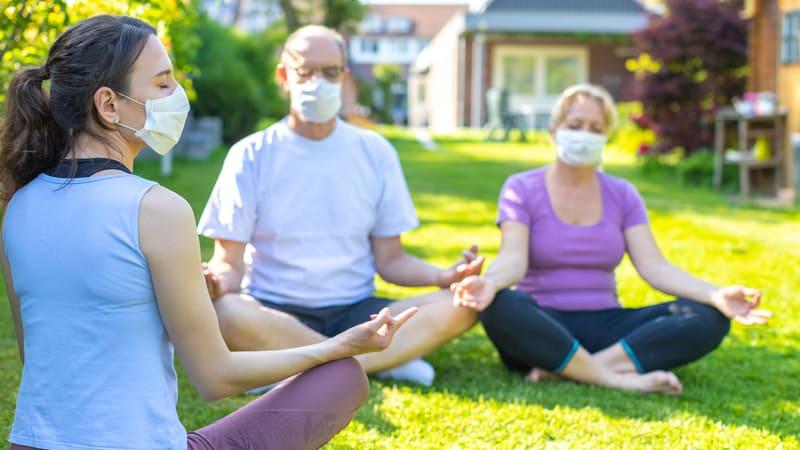 Seniors taking COVID Precautions in retirement communities