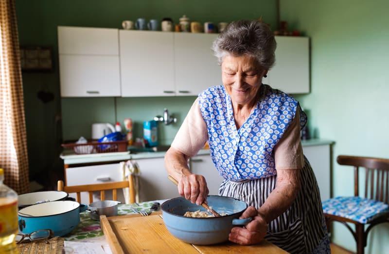 Senior woman enjoying holiday celebrations during the pandemic