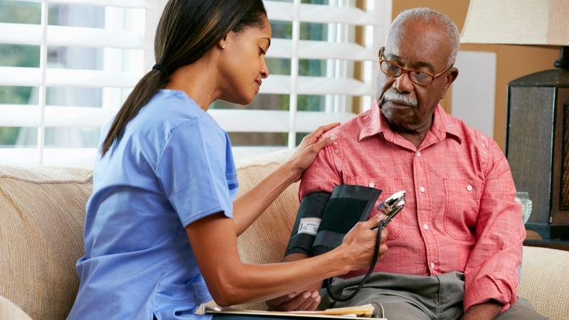 Man receiving medical vs non-medical home care