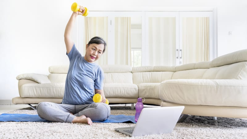Woman participating in strength training for seniors