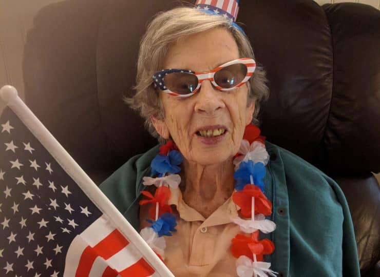 Lynns Care Homes Elderly Lady Celebrating Fourth of July