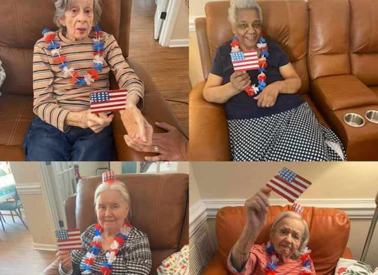 Lynns Care Homes Elderly Ladies Celebrating Fourth of July