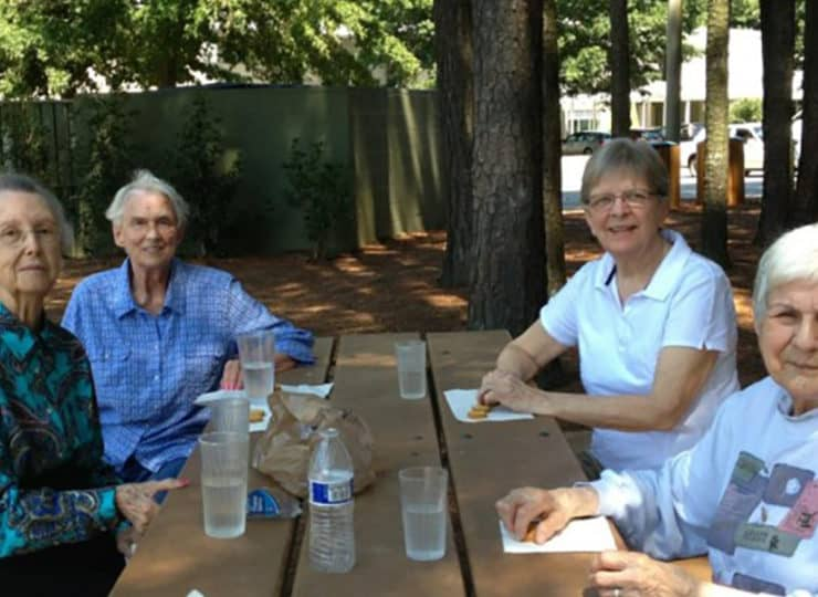 Lynns Care Homes Elderly Friends at Picnic