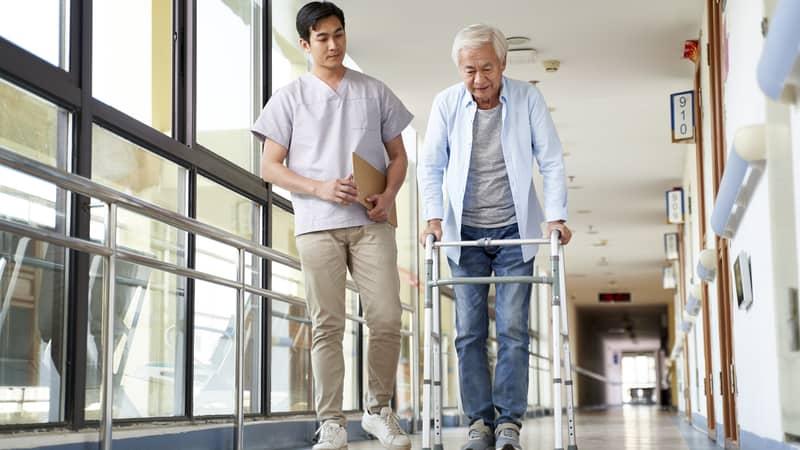Senior man gaining independence after a stroke