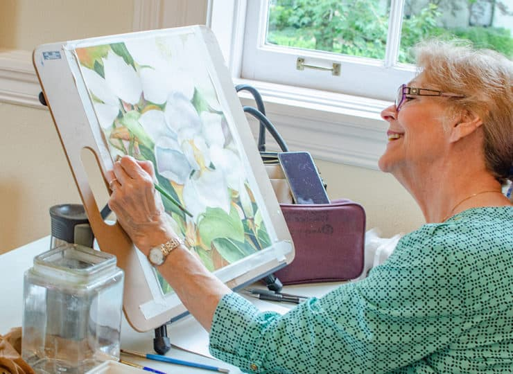 Baker Hunt Art and Cultural Center Senior Lady Painting Watercolors