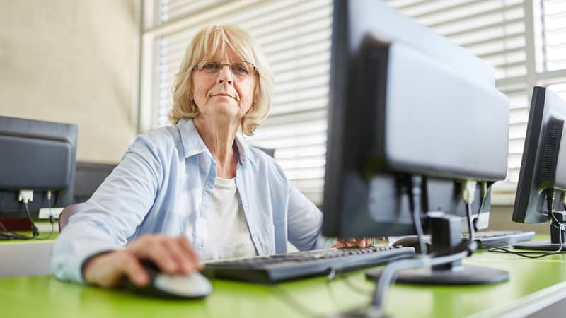 Woman who has taken some coding classes for seniors