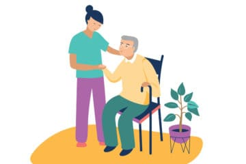 Illustration of nurse assisting patient in chair