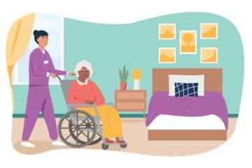 Illustration of nurse helping patient