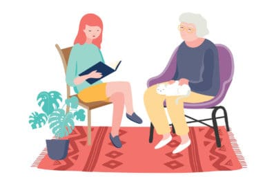 Illustration of staff reading to patient