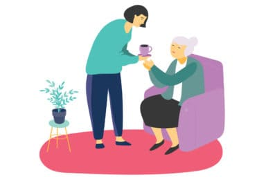 Illustration of staff assisting woman with coffee