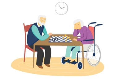 Illustration of community members playing checkers