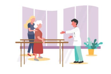 Illustration of Doctor helping patients