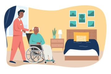 Illustration of nurse assisted patient in wheelchair