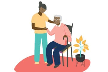 Illustration of nurse helping patient in chair
