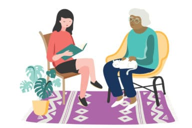 Illustration of staff reading a book to woman