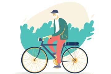 Illustration of man riding a bike