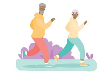 Illustration of community members running together