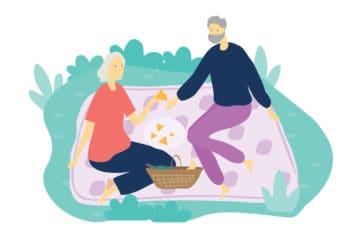 Illustration of community members having a picnic