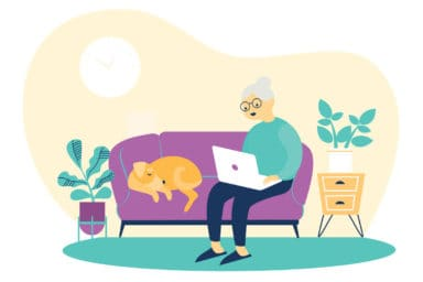 Illustration of woman sitting on couch with dog using her laptop