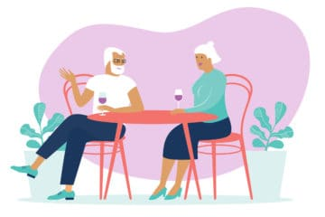 Illustration of community members having a glass of wine together