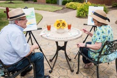 Commonwealth Senior Living Hampton Senior Couple Outdoor Painting