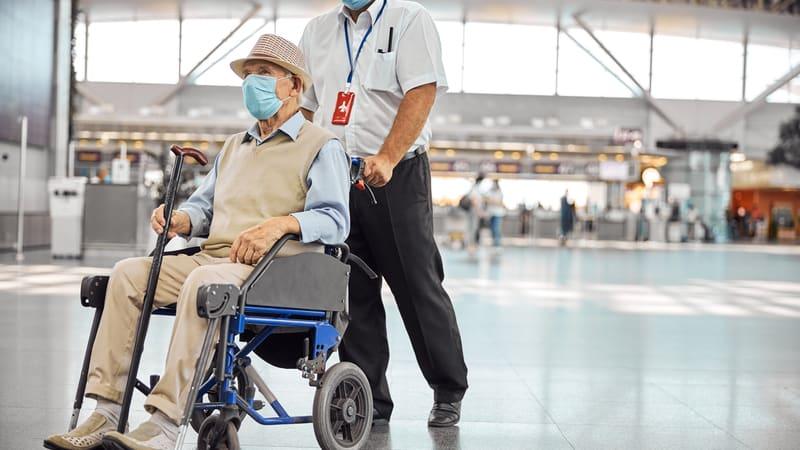 Air travel for seniors like this man