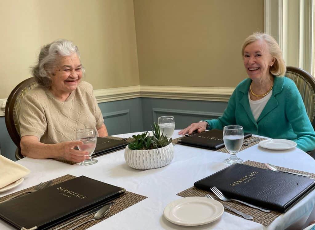 Fran dining at Hermitage Richmond
