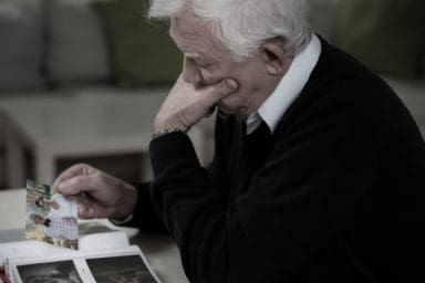 Senior man coping with the loss of a spouse