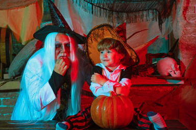 senior and child halloween (credit Volodymyr Tverdokhlib Dreamstime) for article on Halloween costumes for seniors