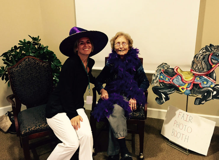 Summit Home Health Care Caregiver with Elderly Lady in Costumes